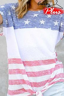 AMERICAN FLAG THEME PRINT PRINT SHORT SLEEVE TOP