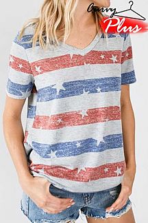 STRIPED AND STAR PRINT SHORT SLEEVE KNIT TOP