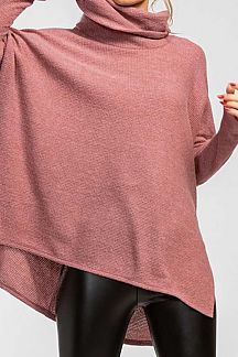 SOLID COWL-NECK KNIT TOP