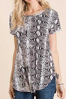 SNAKESKIN PRINT SHORT SLEEVE TUNIC TOP