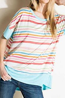 MULTI STRIPE COLOR BLOCK BOXY TOP