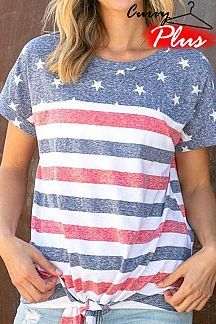 AMERICAN FLAG THEME PRINT SHORT SLEEVE TOP