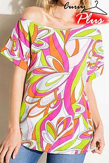 PUCCI PRINT SHORT SLEEVE KNIT TOP