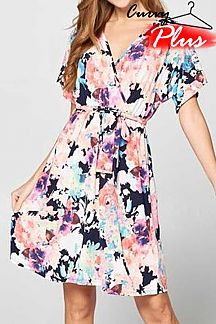 FLORAL PRINT SURPLICE SHORT SLEEVE DRESS