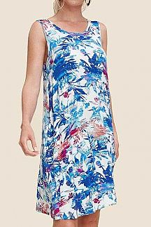 TROPICAL PRINT TANK DRESS