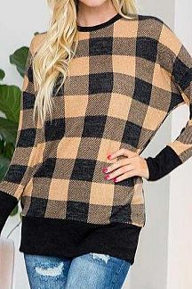 PLAID LONG SLEEVE TUNIC TOP