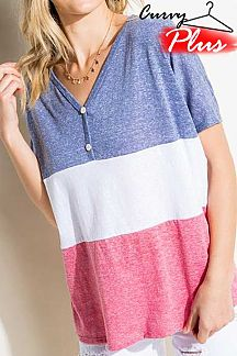 COLOR BLOCK SHORT SLEEVE BOXY TOP