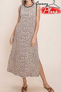 LEOPARD PRINT SLEEVELESS MIDI DRESS
