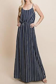 STRIPED SPAGHETTI STRAPS WOVEN MAXI DRESS