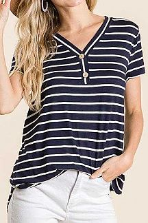 STRIPED SHORT SLEEVE BUTTON FRONT TOP