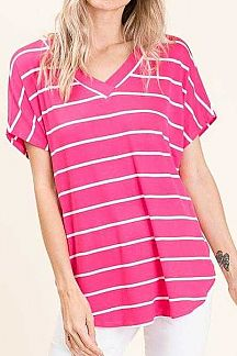 STRIPED SHORT SLEEVE LOOSE FIT KNIT TOP