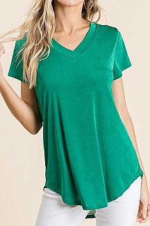 SOLID SHORT SLEEVE SLINKY KNIT TOP