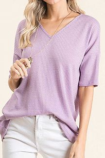 SOLID WAFFLE KNIT LOOSE FIT TUNIC TOP