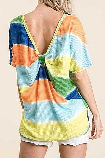 BOLD STRIPED BOW KNOTTED BACK TOP