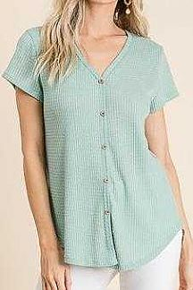 SOLID SHORT SLEEVE WAFFLE KNIT TOP