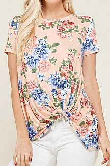 FLORAL PRINT SHORT SLEEVE KNIT TOP