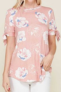 FLORAL PRINT SELF TIE KNOT SHORT SLEEVE KNIT TOP