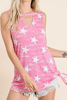 STAR PRINT KEYHOLE V NECK SLEEVELESS TOP