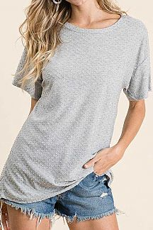SWISS DOT SHORT SLEEVE KNIT TOP