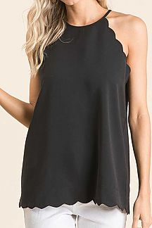 SOLID SCALLOP EDGE SLEEVELESS TOP